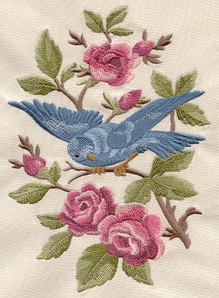 Bluebird 2 on rose bush vintage looking embroidered fabric quilt square