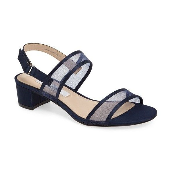 Women's Nina Ganice Mesh Strap Sandal ($55) ❤ liked on Polyvore featuring shoes, sandals, new navy satin, navy shoes, nina shoes, navy block heel sandals, navy blue shoes and navy blue evening shoes