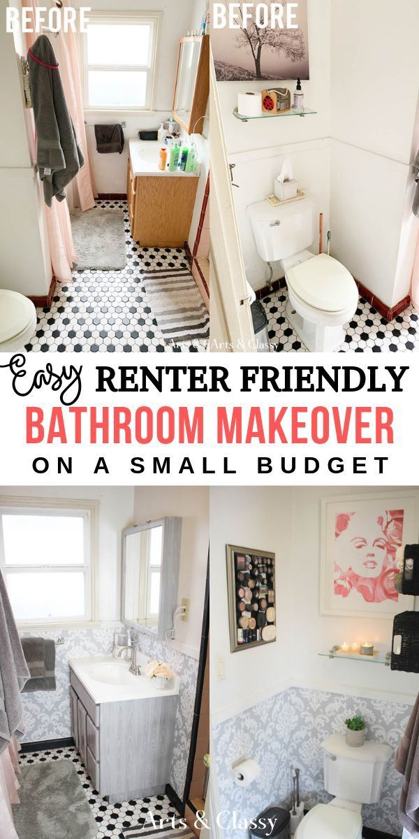 How To Makeover Your Bathroom On A Budget Without Losing Your Deposit Rental Dec Rental Bathroom Makeover Small Apartment Bathroom Apartment Decorating Rental