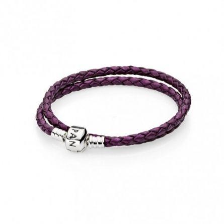 Podwójna fioletowa srebrno-skórzana bransoletka - 590705CPE-D