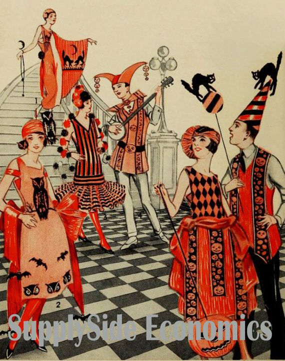 Vintage Halloween Party- Roaring 20s Halloween Party - Halloween Clowns - Black Cats and Jack O Lanterns - Digital Download Set of 5  YOU