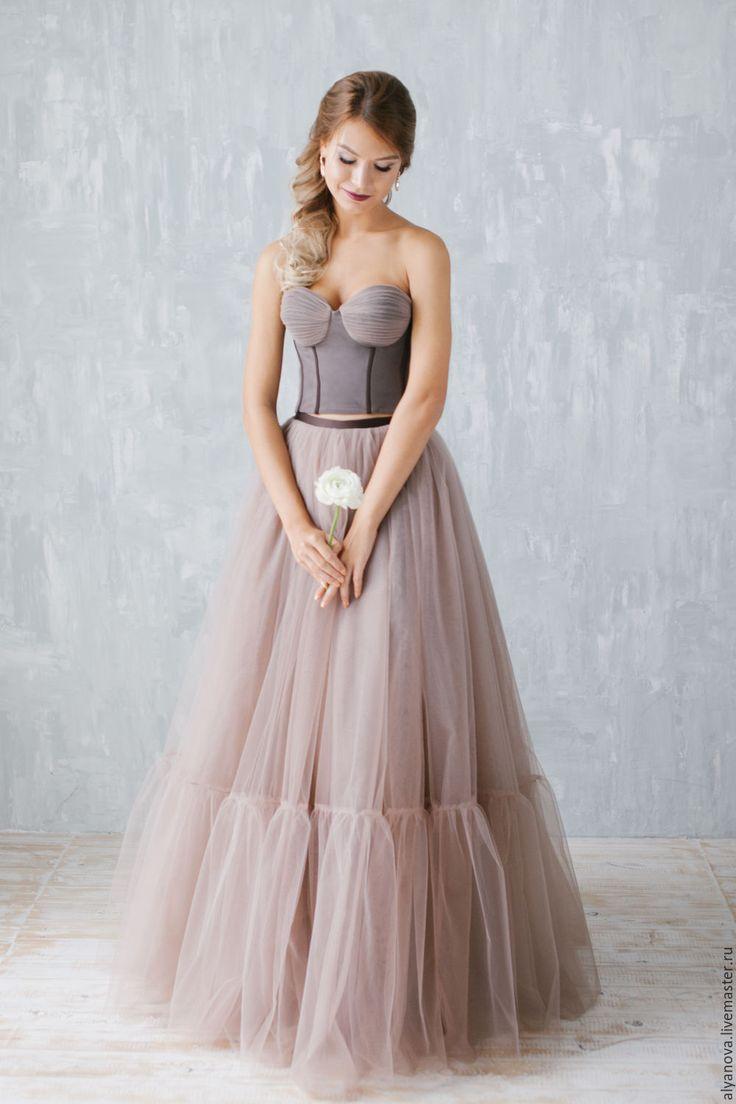 """Gogeous wedding dress / Купить """"Элегия"""" - коричневый, цвет молочного шоколада, платье из еврофатина, платье из фатина, кроп-топ"""