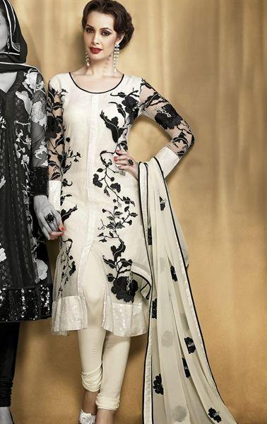 Fashionable off white Indian Designer Salwar Suit IDE66125608 - www.indianwardrobe.com