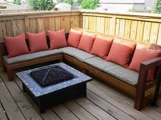 Love this second story deck with the sectional (built by hand!)and the fire pit.