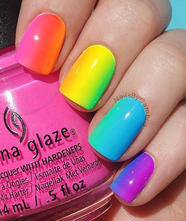 If the horizontal ombre doesn't really make you see the effect of the rainbow, you can still try it vertically. That way, you could really see how your nails resemble a rainbow.