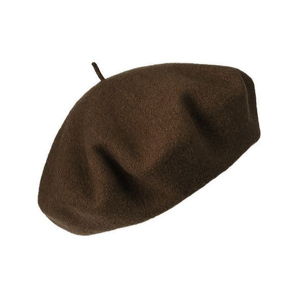Women's Betmar French Beret - Chocolate (16.590 CRC) ❤ liked on Polyvore featuring accessories, hats, head, beret, fillers, brown, chocolate hat, brown wool hat, wool beret hat and beret hat