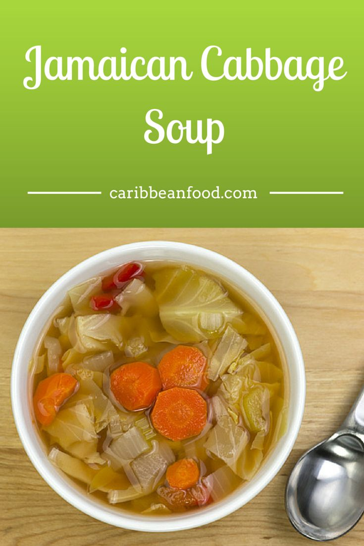 Jamaican Cabbage Soup  Vegetarian cabbage soup is an even healthier option. And with this recipe, you can add or substitute any vegetable desired. In truth, making vegetarian cabbage soup provides you the perfect opportunity to clear out the fridge or invade the garden.  As well, this recipe for cabbage soup goes well with Jamaican jerk chicken or pork.