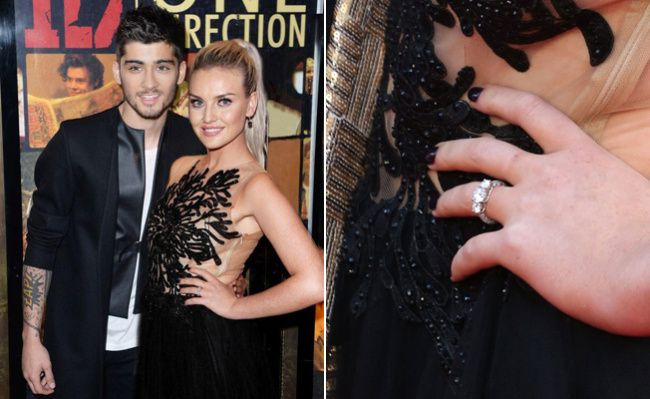 One Direction Zyn Malik is officially engaged to Perrie Edwards. He proposed with this three round diamond platinum ring.
