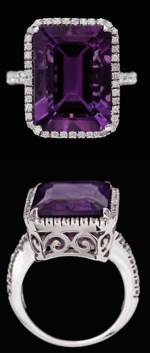Amethyst and brilliant cut diamonds. 18k white gold....