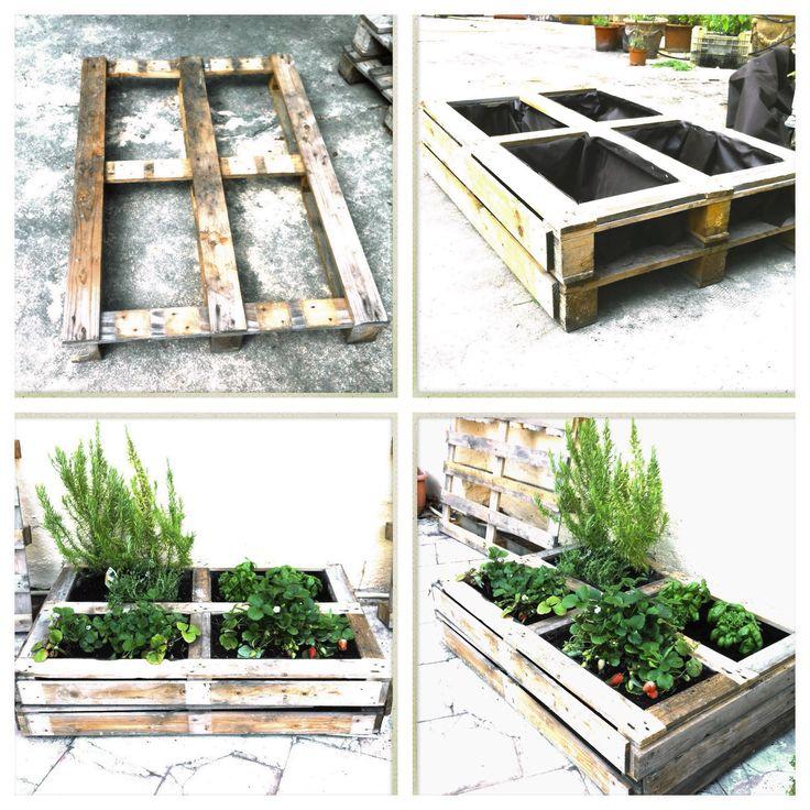 pequea jardinera hecha con palets de madera reciclados
