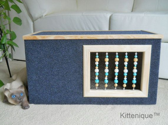 Beaded Cat House. Carefully handcrafted with new quality materials and built to last for years.  https://www.etsy.com/listing/224541430/blue-beaded-cat-house-wooden-cat?ref=listing-shop-header-1