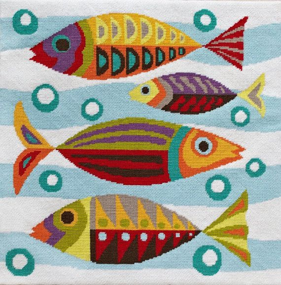 MidCentury Fish needlepoint by emilypeacocktapestry on Etsy, $103.00