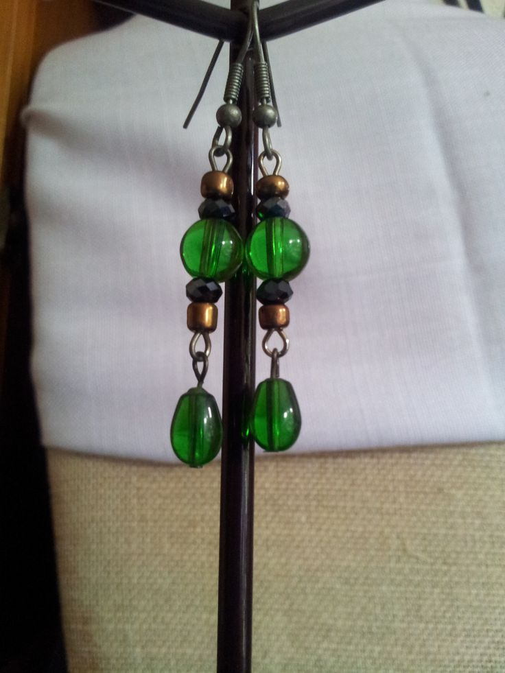 Recycled beads from a broken necklace used in a pair of earrings (^_^)