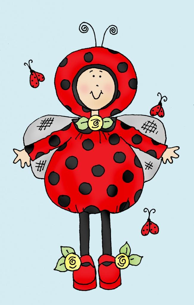 Ladybug girl color | Dearie Dolls Digi Stamps