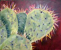 """""""Cacti"""":  This Acrylic painting was done for a client who wanted a fairly quick sketch of the subject matter. Doing the painting was a great exercise in loosening up. """"Cacti"""" is available for sale in  20x16 or 8x10 Giclee prints at fontainefineart.com/Cacti.shtml"""