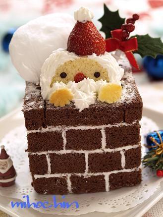 Christmas cake. 煙突に!サンタさんケーキ(キャラスイーツ) - なおちゃんのキャラ弁&キャラスイーツ - Yahoo!ブログ