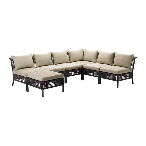 IKEA - KUNGSHOLMEN / HÅLLÖ, 6-seat sectional + stool, outdoor, , By combining different seating sections you can create a sofa in a shape and size that perfectly suits your outdoor space.</t><t>You can make your sofa even more comfortable and add a personal touch by complementing with loose pillows in different sizes and colors.