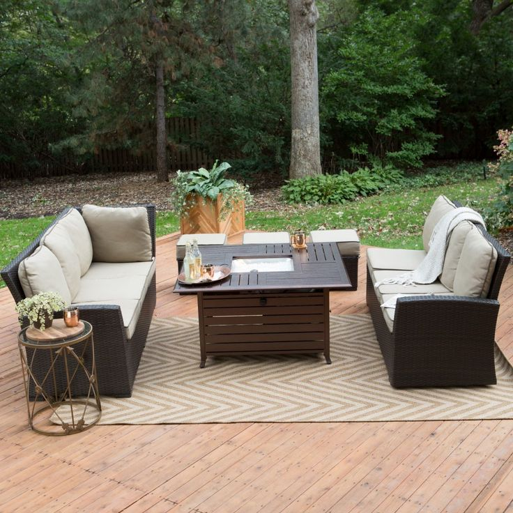 Belham Living Monticello All Weather Wicker Fire Pit Chat Set With Longmont  Square Gas Fire