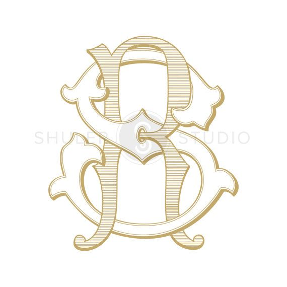 RS Monogram SR Monogram Custom Wedding Monogram by ShulerStudio