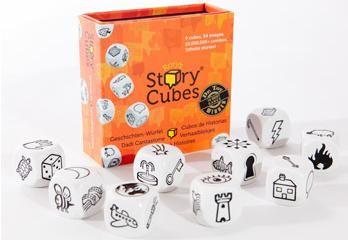 Story cubes: een leuke startpunt voor een coöperatieve stelopdracht.