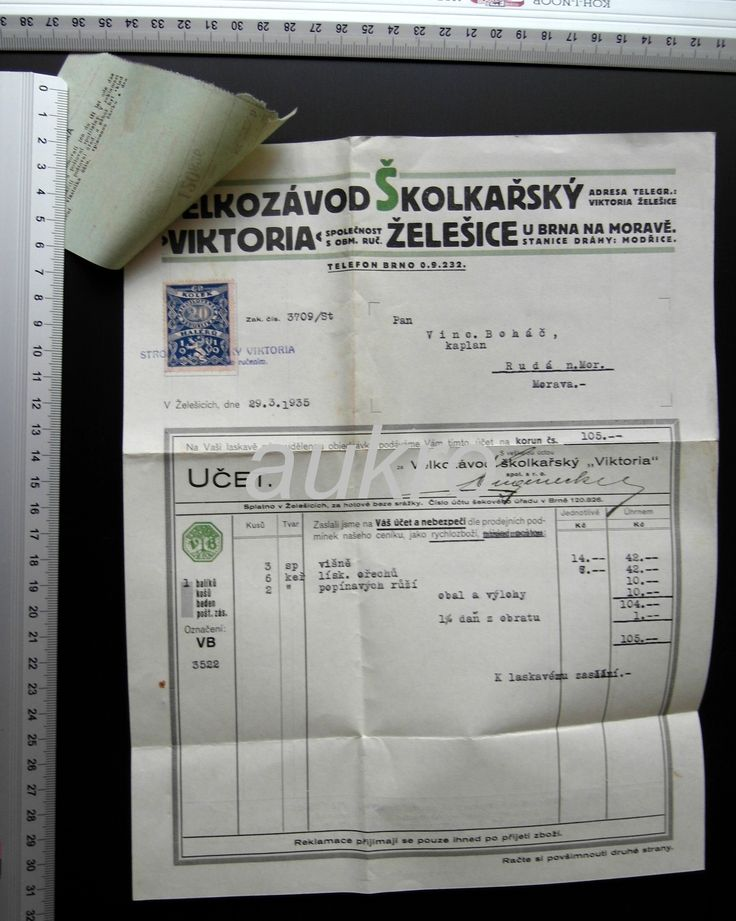Faktura, Želešice, Brno, školkařství Viktoria (6613171889) - Aukro - největší obchodní portál
