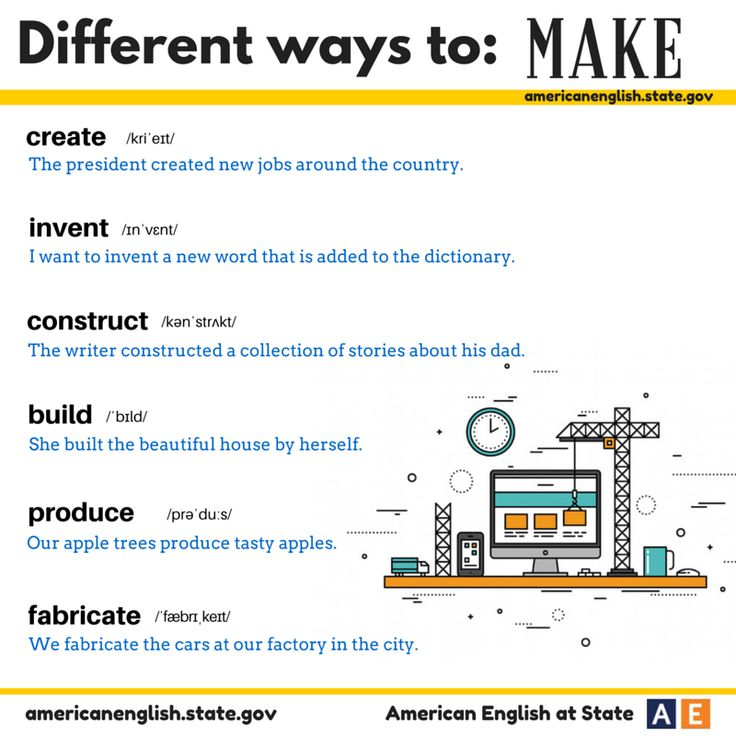 Different ways to: MAKE
