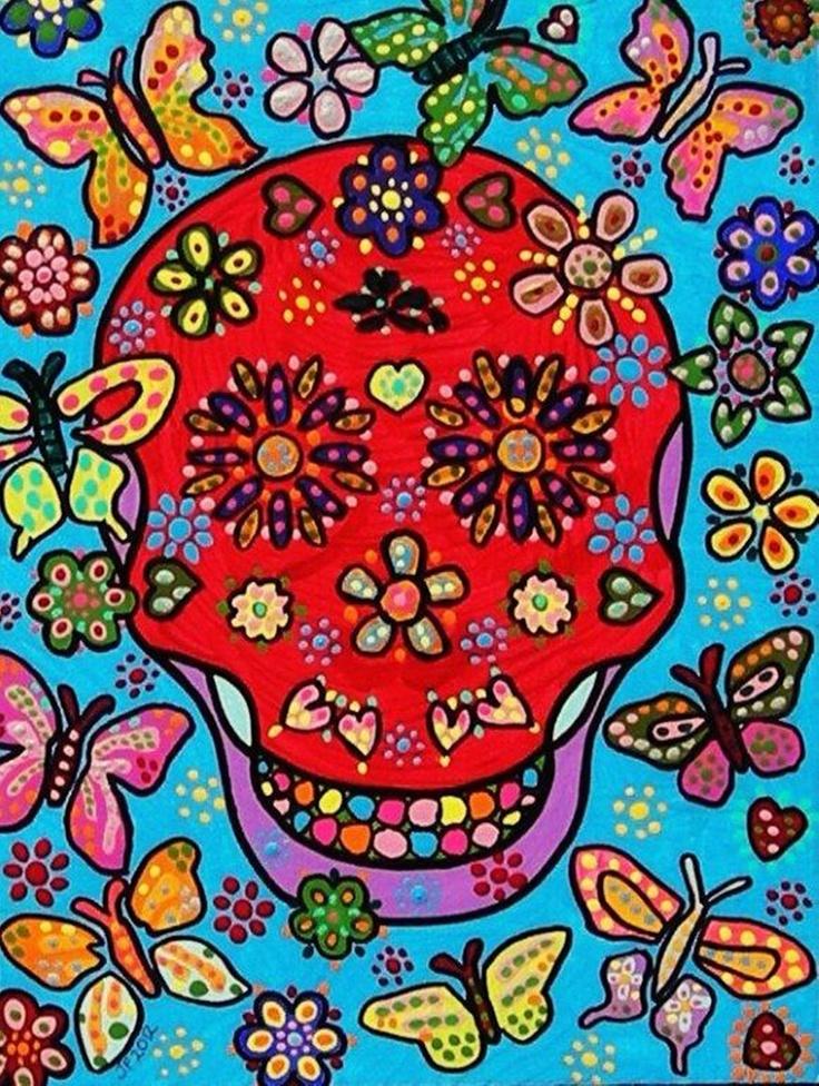 Blood & Butterflies - FAYTH ORIGINAL Art PRINT - mexican,  day of the dead, sugar skull, flowers, skeleton, blue, skull, heart: Art Work, Addition Prints, Commiss Work, Addition Link, Copyright Image, Art Prints, Feelings Free, Originals Artworks, Canvas Copyright