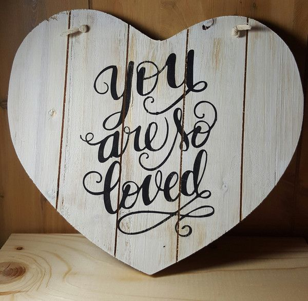 """This 10"""" x 8"""" heart shaped pallet sign is a great reminder for someone you love. Whitewashed background with black lettering. distressed/weathered finish Custo"""