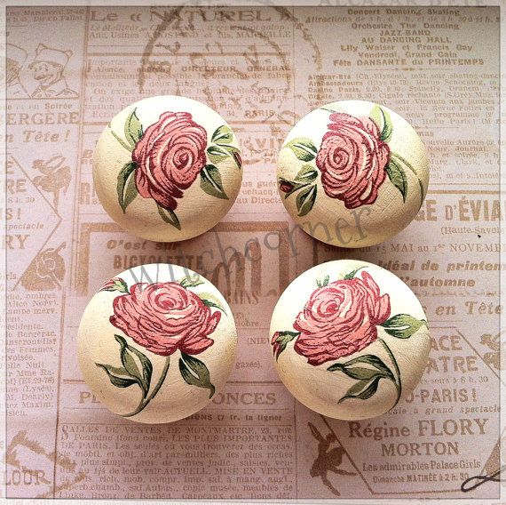 Wooden door knobs made with pink roses paper  small by witchcorner, $24.00
