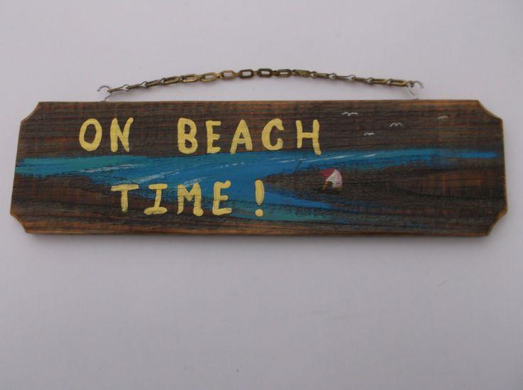 On Beach Time - Nautical Decor - Beach Decor - Beach Wedding Decor or present sealed wooden sign with brass chain by Driftinn on Etsy