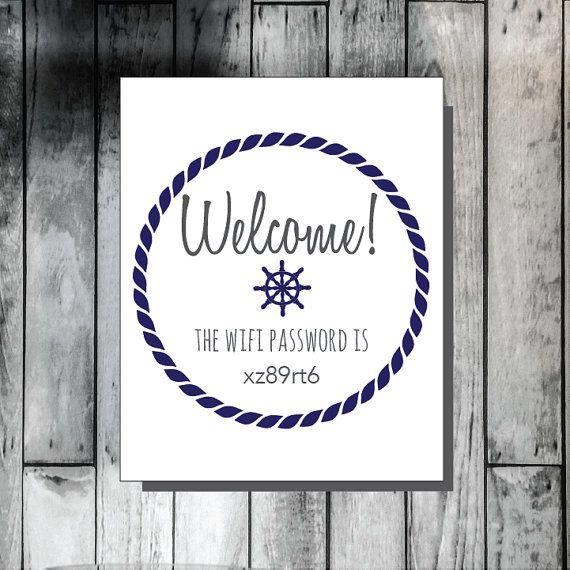 Welcome WIFI password, guest bedroom decor, nautical decor, customizable decor, nautical wall art, printable wall decor
