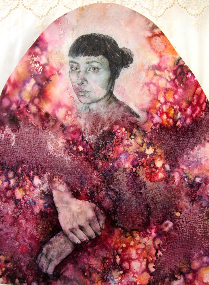 details: daughter - 'My roots are all sick (Broken Heirlooms)', menstrual blood, earth, incense, mixed media on paper and fabric, 2012.