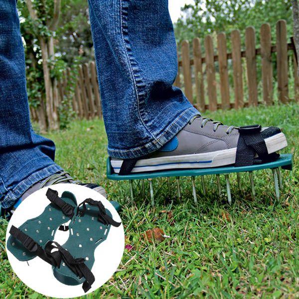 Cool Gardening Grass Lawn Plastic Aerating Shoes Greensward Spikes Loosening Equipment
