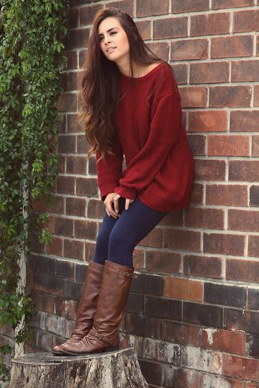 Brown Boot Club! Cute fall outfits with burgundy sweater fashion | Fashion