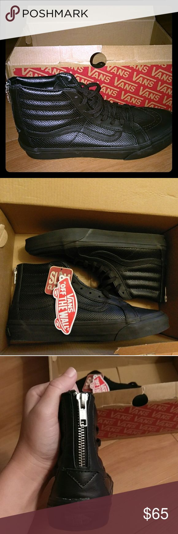 🔥 Sale Today Only!!! SK8-Hi Slim Zip Vans Size: 8.5 Women / 7.0 Men Brand: Vans Style: Sk8-Ho Slim Zip Black/Black Condition: BNWT & box Vans Shoes Sneakers