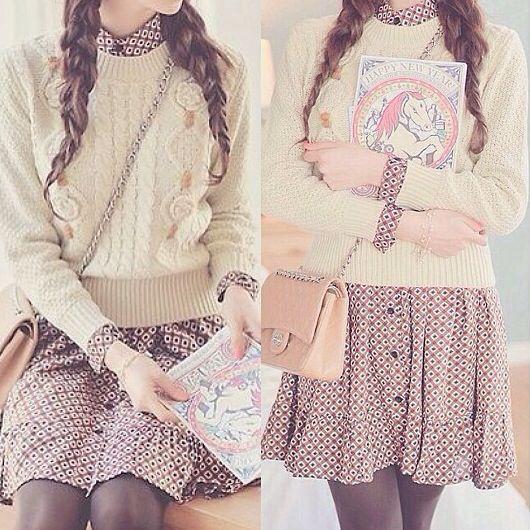Ulzzang Fashion - So cute! Perfection. Korean Fashion. --- pretty, sweater, dress, braids, purse, white, brown, purple