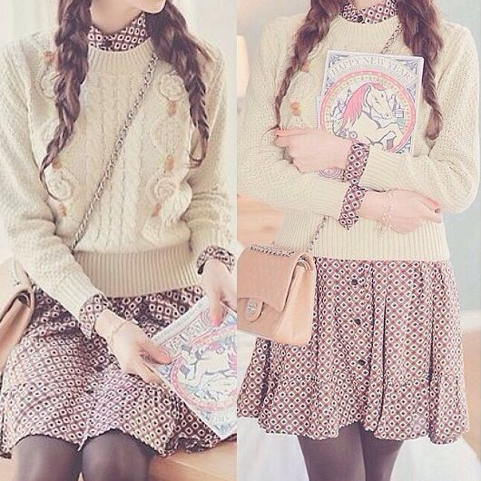 Ulzzang Fashion - So cute! Perfection. Korean Fashion. --- pretty, sweater, dress, braids, purse, white, brown, purple