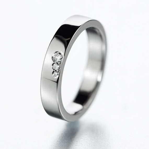 Wedding band or engagement ring with diamonds. Simple, modern and fresh design ring. on Etsy, $560.00