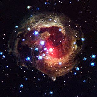 The Hubble Space Telescope Top 100 images: latest image of the star V838 Monocerotis (V838 Mon) reveals light echo in dusty cloud structures.
