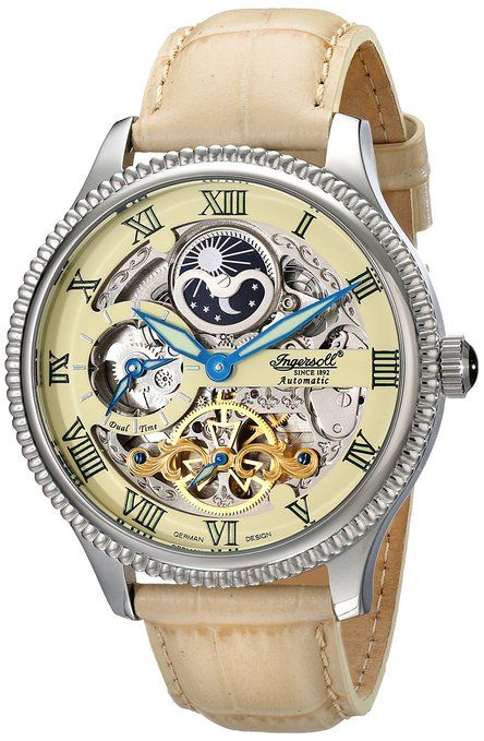 """Ingersoll Men's IN2713CR """"Ulzana"""" Stainless Steel Watch with Beige Leather Band"""