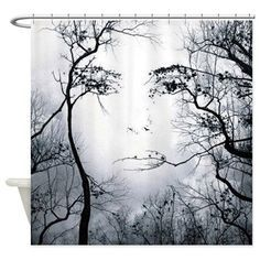 Woman face trees Shower Curtain on CafePress.com