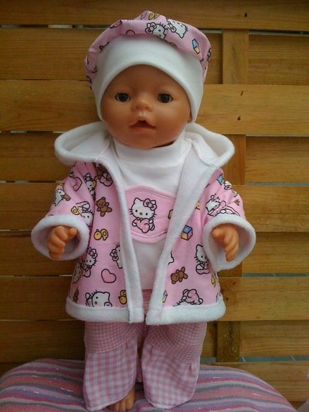 4-piece doll clothes including a jacket, sweater, hat and pants.  for Baby Born doll or other in this size of about 40-43cm  The dolls things are home