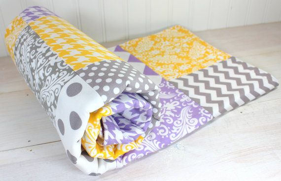 Baby Girl Blanket, Fleece Blanket, Nursery Decor, Patchwork Blanket, Lavender, Purple, Plum, Yellow and Gray Chevron, Damask, Houndsooth