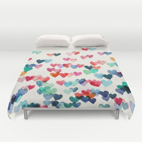 Heart Connections - watercolor painting Duvet Cover