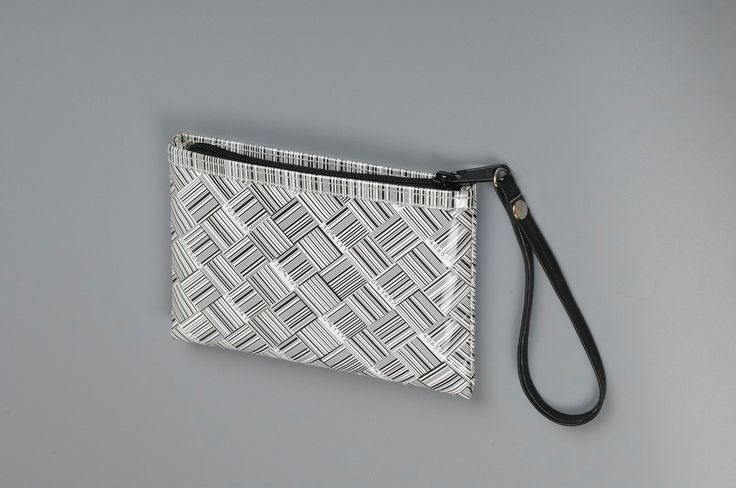 Small zip clutch using barcode stickers
