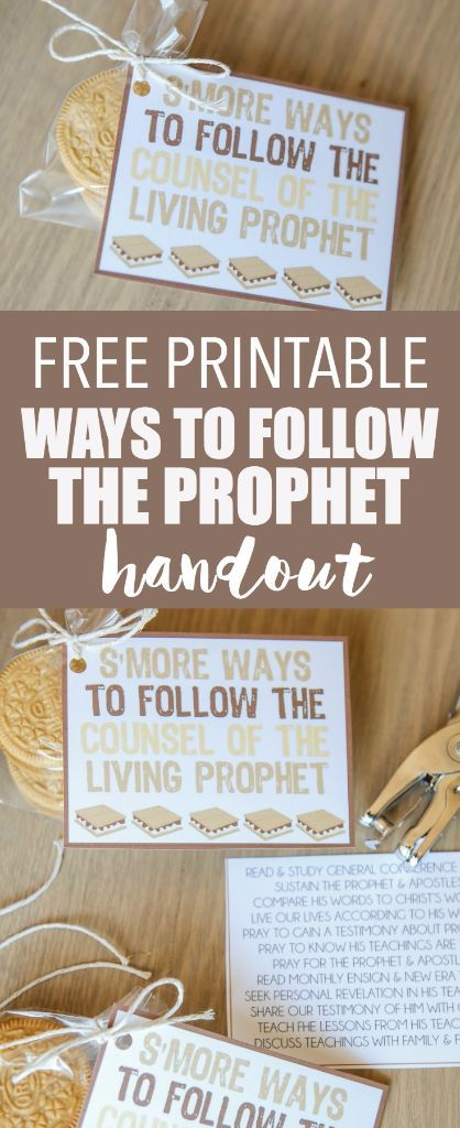 Fun come follow me lesson handout idea for teaching about following the prophet! And this blog has tons of other cute Come Follow Me lesson ideas and young women handout ideas!