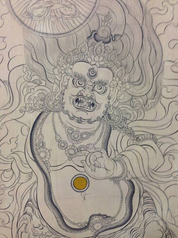 my first Finish drawing in my 2nd course in Tibetan art studying