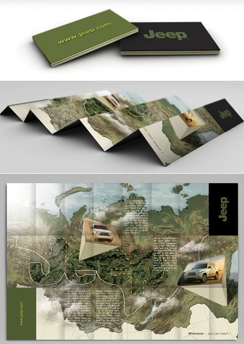 CREATIVE   JEEP   Brochure unfolds, revealing a map theme which creatively integrates product and company information