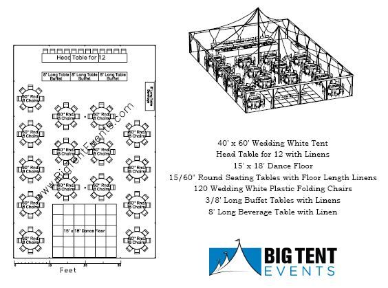 Wedding tent rental 120 guest seating layout chicago il for Wedding tent layout design