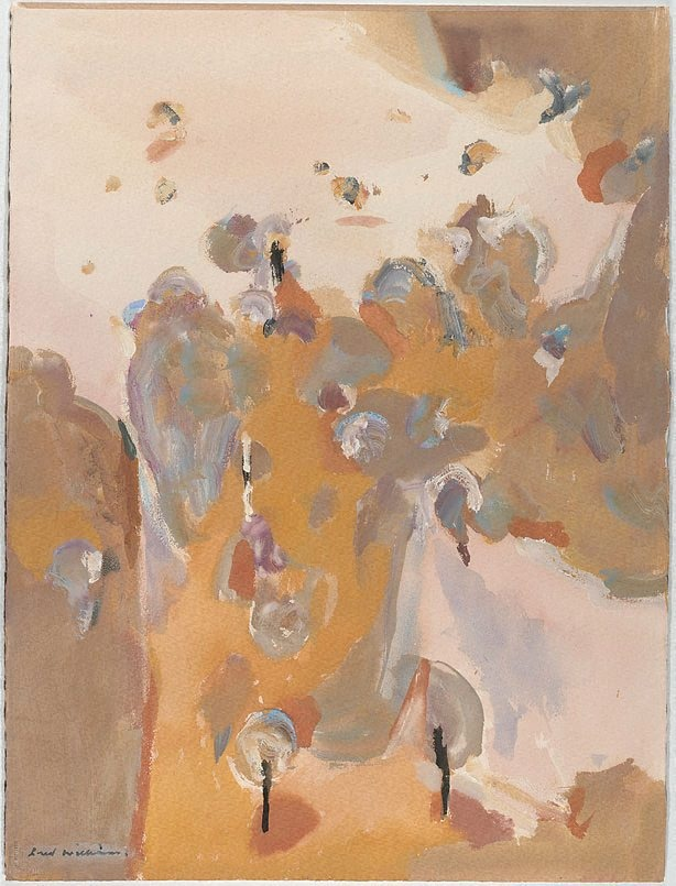 Red landscape, (1965) by Fred Williams :: Art Gallery NSW